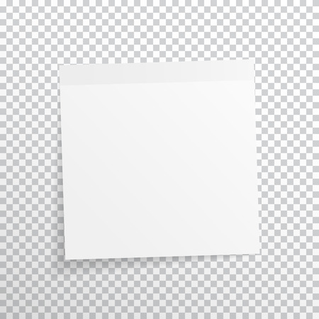 White, gray sticky note isolated on transparent background.