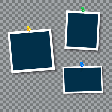 Photo frames with clip, vector. Ilustrace