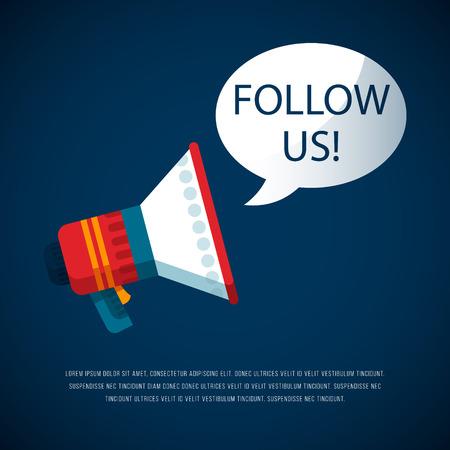 Follow us  banner for social networks. Vector illustration of advertising megaphone.