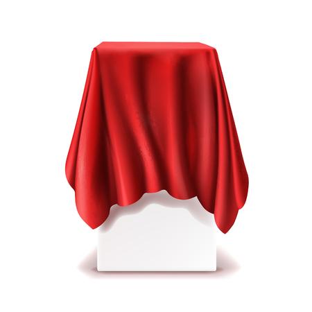 Vektor realistischer Stand bedeckt mit rotem Seidentuch lokalisiert auf weißem Hintergrund. Leeres Podium, Tribüne mit Tischdecke für Rede oder Präsentation. Geheimbox, versteckt unter Satinstoff mit Vorhängen Vektorgrafik
