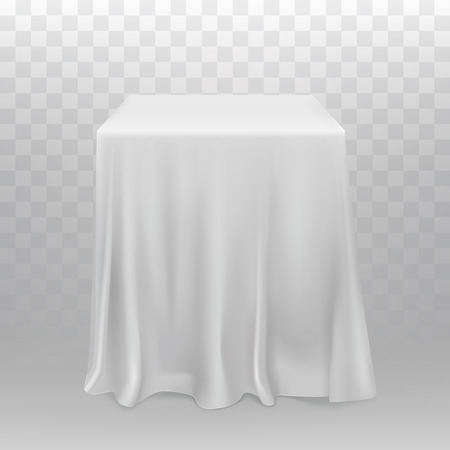 Vector realistic white cubes, one block covered with silk cloth isolated on transparent background. Square stand or podium hidden under fabric with folds. Vettoriali