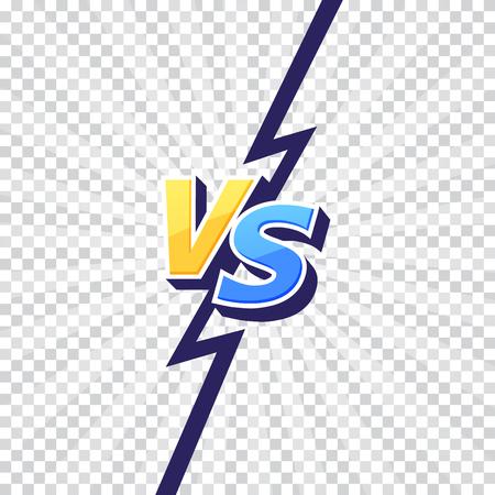 Le lettere Versus VS combattono sfondi trasparenti in un design piatto in stile fumetto con fulmini. Illustrazione vettoriale Vettoriali
