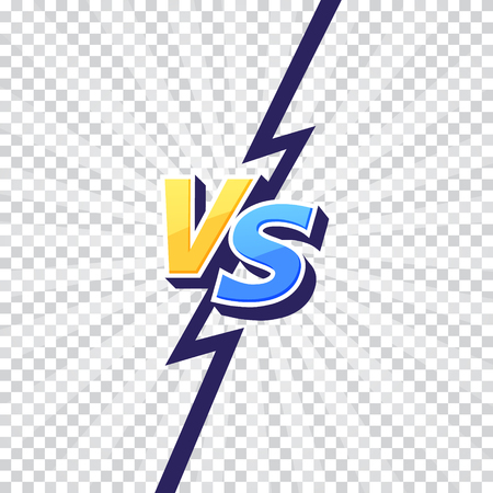 Versus VS letters fight transparent backgrounds in flat comics style design with lightning. Vector illustration