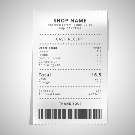 Realistischer Papierladenbeleg mit Barcode. Vector Shop-Terminal - Vector Vektorgrafik