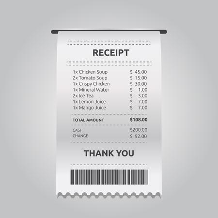 Recibo de tienda de papel realista con código de barras. Terminal de tienda de vector - Vector