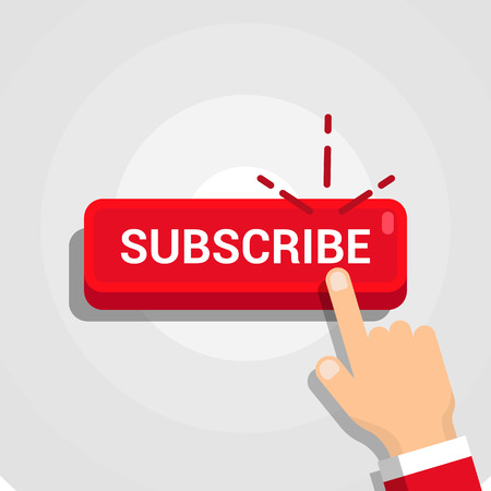 Red rounded subscribe button with hand on white background.