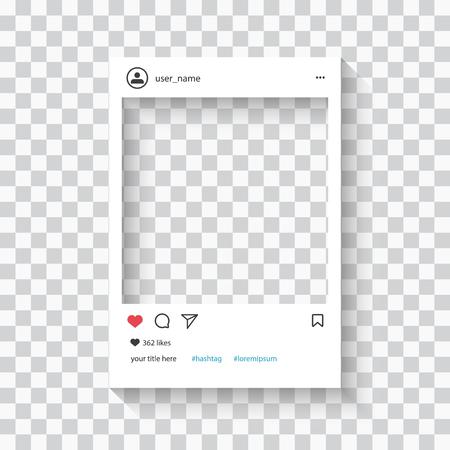 Social network photo frame on transparent background vector illustration.