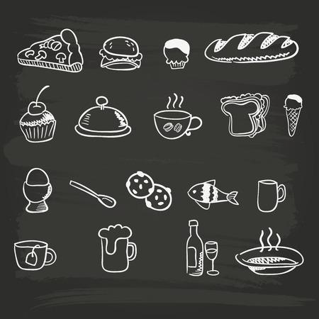 Hand-drawn menu food graphics Ilustrace
