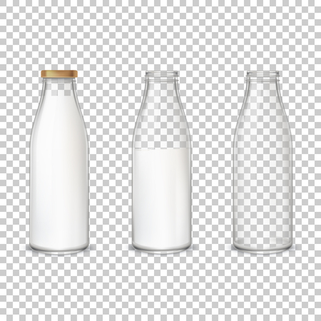 Set of vector illustrations in realistic style glass bottles with milk and without with different labels isolated on gray. Package mockup design ready for branding. Banco de Imagens - 124253963