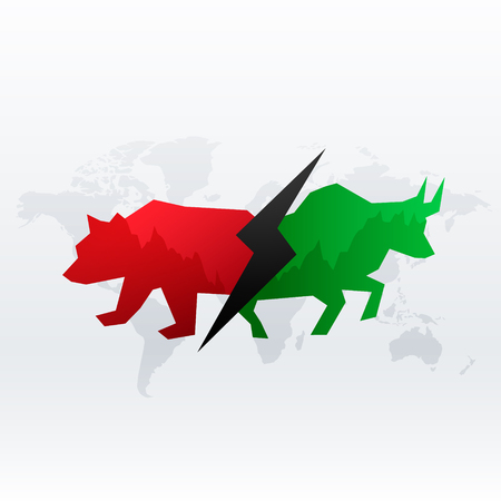 Bull and Bear  illustration. vector Forex or commodity charts, on abstract background. The symbol of the the bull and bear