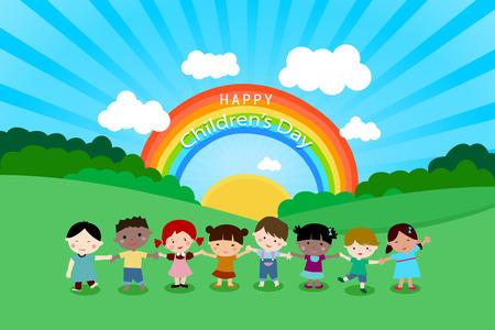 Happy Children day, cartoon children near the rainbow