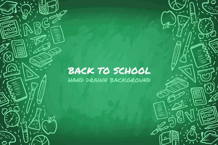 Back to school, business learning with book, hand and hand drawn symbols. Ilustrace