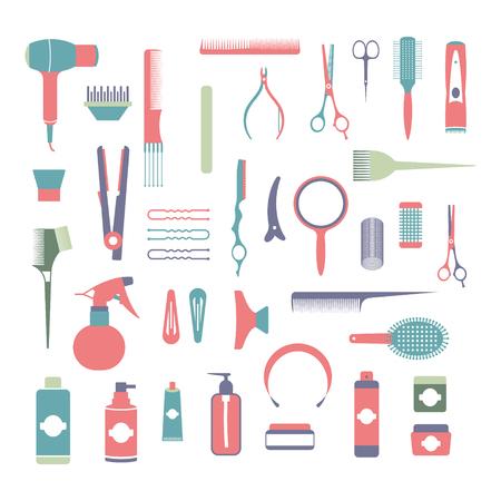 Elementos de diseño plano de cosmetología, peluquería, maquillaje y manicura. Conjunto de herramientas y equipos de spa. Instrumento cosmético aislado. Tijeras, cepillos y dispositivos.