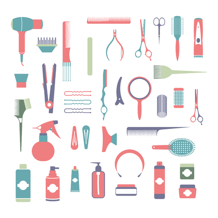 Flat design elements of cosmetology, hairdressing, makeup and manicure. Spa Tools and equipment set. Cosmetic Instrument isolated. Scissors, brushes and devices Banco de Imagens - 124253974