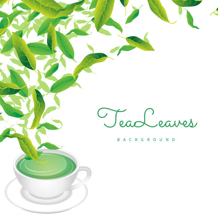 Background of green leaves with emblem of tea. Packaging design