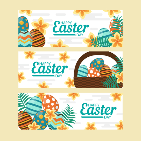 Cute Happy Easter templates with eggs, flowers, floral wreath, rabbit and typographic design. Good for spring and Easter greeting cards and invitations. Vector illustration. Banco de Imagens - 124253982