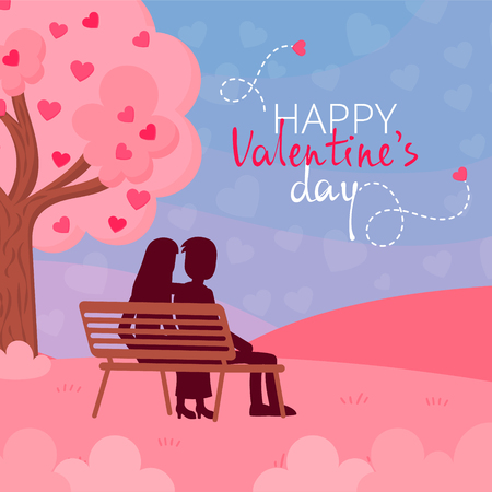 Drawn characters couple in love, holding a heart-shaped box. Vector illustration in a flat style. Ideal to use as a greeting card for Valentine's Day. Ilustrace