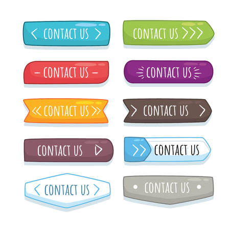 Button contact us in cartoon style Иллюстрация