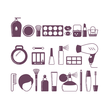 Cosmetics line art icons set. Design elements in linear style with different types of skin care and beauty products: eye shadow; cream; mascara; lipstick; perfume etc
