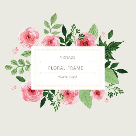 Watercolor with flower rose frame for inserts