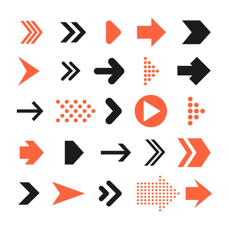 Arrow sign icon set. Contemporary modern style. This vector illustration web design elements