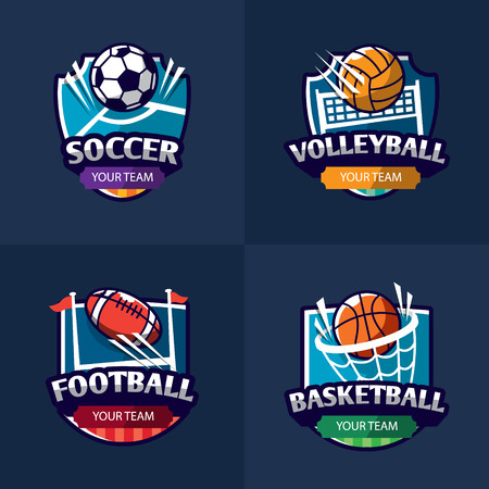 Mega set of colorful sports logos soccer, american football, volleyball. Vector isolated illustration Çizim