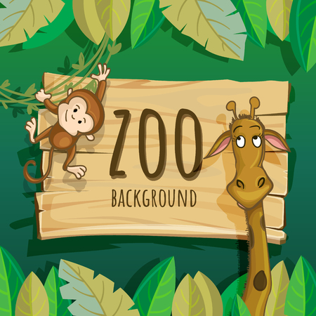 African zoo background. Template for posters, cards and invitations. Cute African animals, birds and flowers. Hand drawn illustration. Summer set. Funny characters for kids.