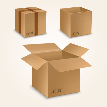 Cardboard box mockup set. Realistic illustration of 10 cardboard box mockups for web. Brown delivery set vector Çizim