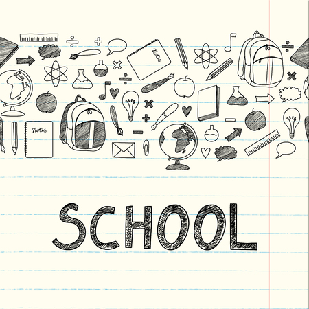 Benvenuto a scuola sfondo tipografico sulla lavagna con elementi di icone Vettoriali