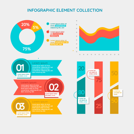 A collection of infographic elements Illustration in a flat style Ilustração