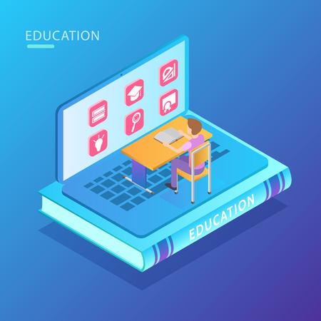 E-learning distance education bright glow isometric composition computer with man