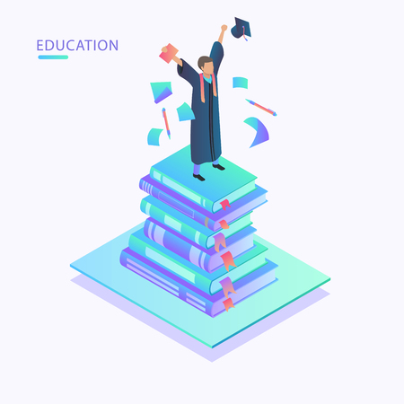 Books steps of Education infographic Template. Concept education steps. Academic cap with people and books surrounded by icons of education, text, numbers.