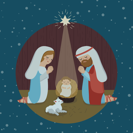 Merry Christmas religious greeting. Son of god was born spiritual biblical history. Square dark blue background, silhouette of couple and wise men characters Isolated graphic xmas icon design template Ilustração