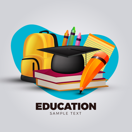 3d Education concept with school backpack and learning symbols vector illustration
