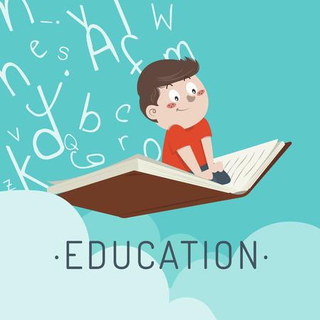 illustration garçon vole sur un livre de formation