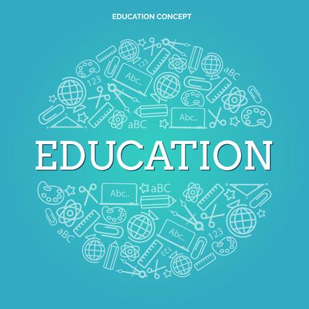 Education background with elements of scientific subject Ilustração