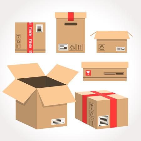 Embalaje de vector de caja de cartón para entrega. Paquete en forma de caja. Ilustración de estilo plano de paquete de dibujos animados aislado sobre fondo blanco