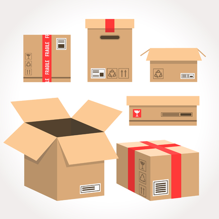 Cardboard box vector packaging for delivery. Boxlike package. Cartoon parcel flat style illustration isolated on white background