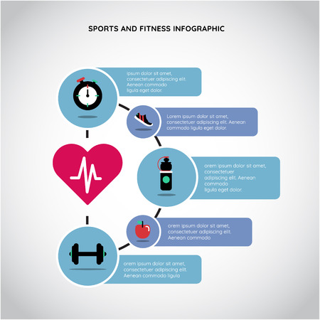 Sport and fitness infographic. Physical Health infographic: activity, nutrition, rest Ilustração