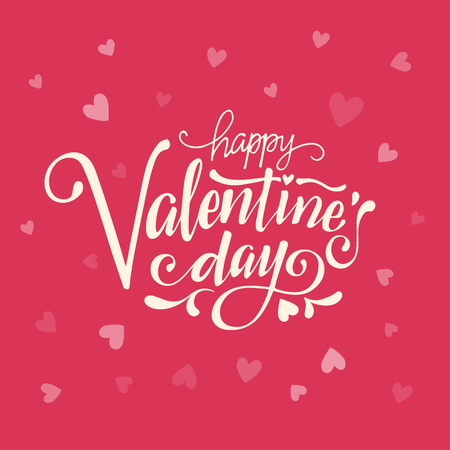 Happy Valentines Day typography poster with handwritten calligraphy text.