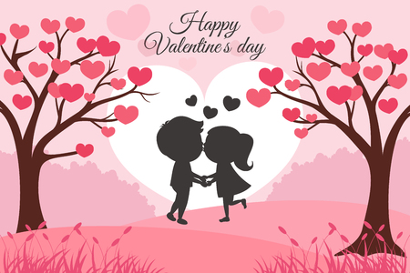 Greeting Valentines Day card with tree of hearts and kids kissing Ilustração