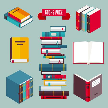 Books set in flat design style, vector illustration Vecteurs