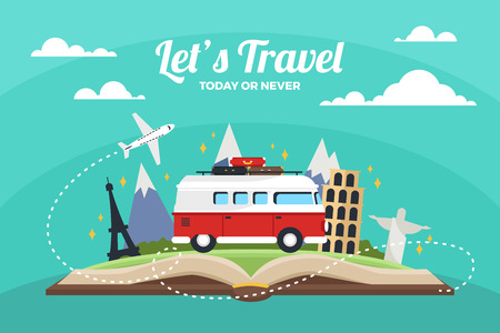 Travel to World. Road trip. Tourism. Open book with landmarks. Travelling vector illustration. The World is Yours! Modern flat design.