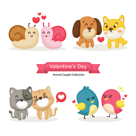 congratulation of little animals. Happy Valentine's day