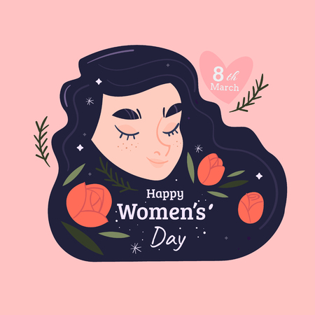 8 march international women's day vector illustration concept, woman head illustration from side view happy women's day, can use for, landing page, template, ui, web, mobile app, poster, banner, flyer