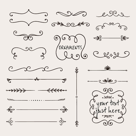 Calligraphic borders, patterns, and ornamental corners. Vector pattern brushes set. decorative elements for the design works. It can be used as separate elements or brushes
