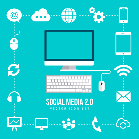 Social Network background of the icons vector