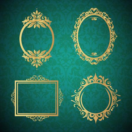 Decorative vintage frames borders backgrounds rectangle proportions set vector