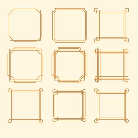 Decorative vintage frames borders backgrounds rectangle proportions set vector Ilustração