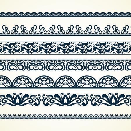 Kalligraphische Bordüren, Muster und Zierecken. Vektormusterbürsten eingestellt. dekorative Elemente für die Designarbeiten. Es kann als separate Elemente oder Bürsten verwendet werden Vektorgrafik